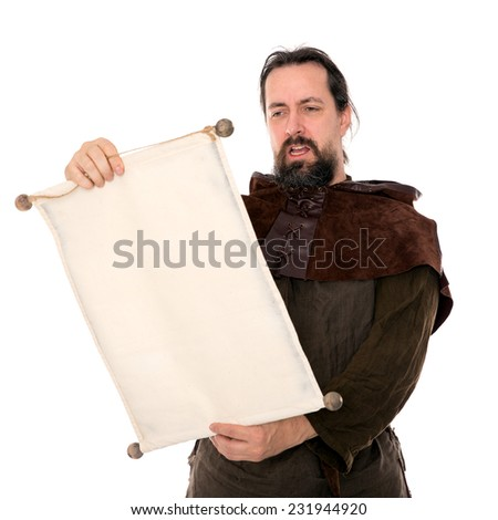 medieval man holding a scroll, isolated on white #231944920