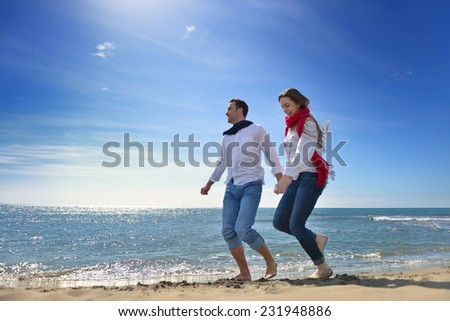 young happy couple enjoying at sea #231948886