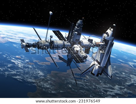 Space Shuttle And Space Station In Space. 3D Scene. Elements of this image furnished by NASA #231976549
