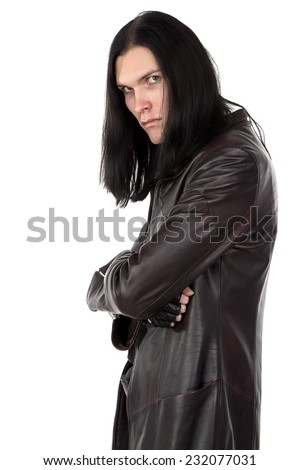 Photo of informal man in leather coat on white background #232077031