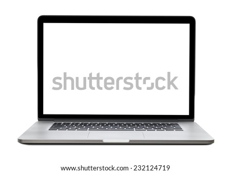 Laptop with blank screen isolated on white background, white aluminium body. Royalty-Free Stock Photo #232124719