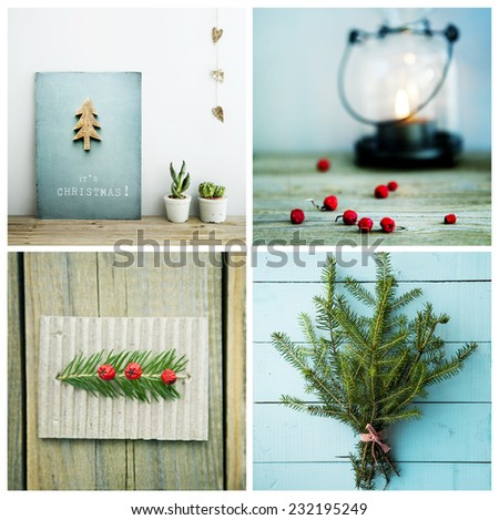 four christmas style pictures - greeting cards