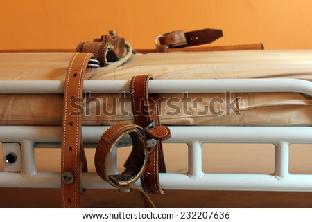 bed for retraining psychiatric patients Royalty-Free Stock Photo #232207636