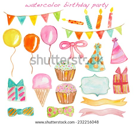 Watercolor Birthday Party Elements Set