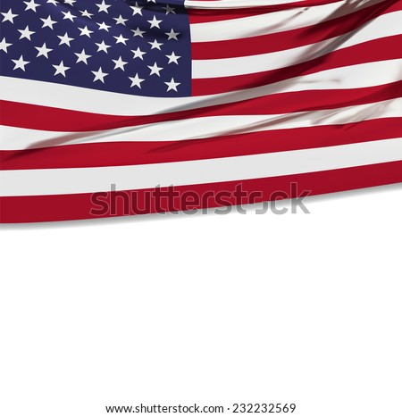 Flag of the United States of America with empty white space for your advertising text. Celebration background. Vector illustration. #232232569