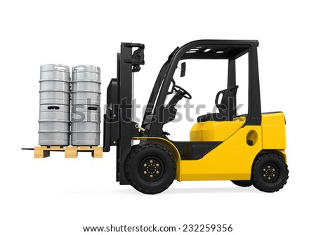 Forklift and Pallet of Beer Kegs #232259356