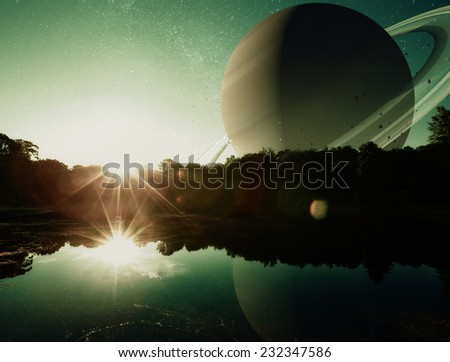 a fantasy sci-fi scene of the sun rising on a distant planet with water.