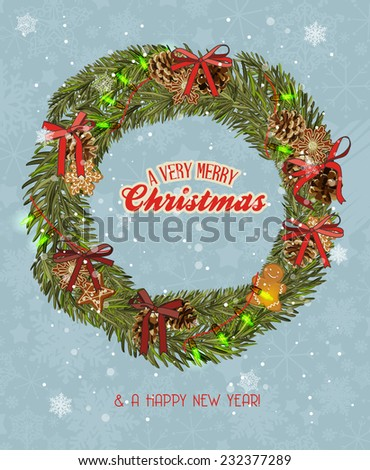 Christmas wreath with garland, gingerbread, Christmas balls, red bows #232377289