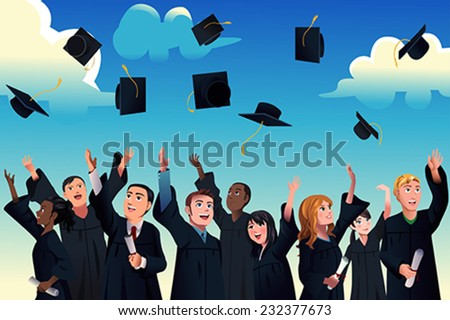 A vector illustration of students celebrating their graduation by throwing their graduation hats in the air #232377673