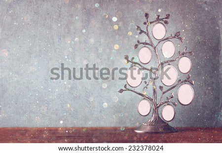 Image of vintage antique classical frame of family tree on wooden table and glitter lights background .