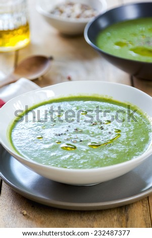 Spinach with celery and fennel soup by sea salt #232487377