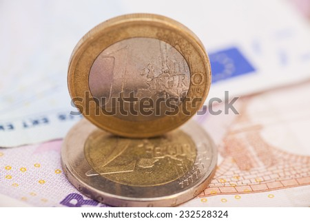 Money euro coins and banknotes  #232528324