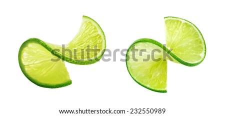 Fresh lIme slice twist isolated on white background as package design element #232550989