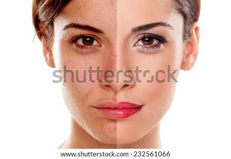 Comparison portrait of a woman without and with makeup Royalty-Free Stock Photo #232561066