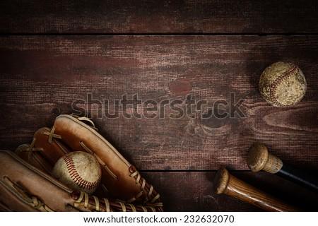 Old Vintage Baseball Background. Shallow focus Royalty-Free Stock Photo #232632070