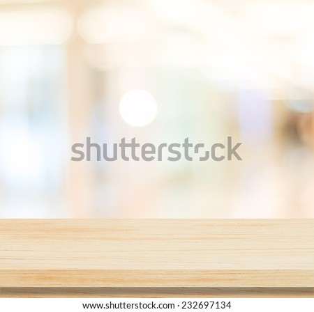 Table and blur background, Wooden counter over blur bokeh light background, Brown wood table top, shelf for food and retail shop, store product display backdrop, banner, mockup, template  #232697134