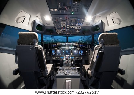 airplane cockpit view Royalty-Free Stock Photo #232762519