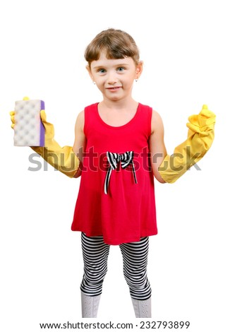 Cheerful Little Girl with Bath Sponge and Rubber Gloves Isolated on the White #232793899