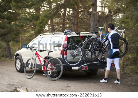 Bikes Loaded on the Back of a Van Royalty-Free Stock Photo #232891615