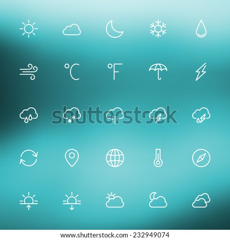 Thin line weather icons set for web and mobile apps. White icons on the blurred background. Cloud, sun, rain, storm, snow, moon #232949074