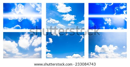 collection of blue sky with cloud #233084743