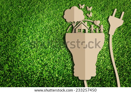 Paper cut of eco on green grass #233257450