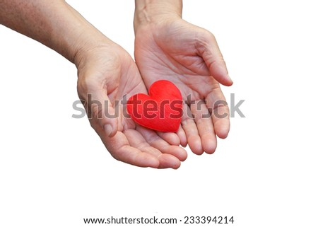 old hands of the elderly giving a red heart #233394214