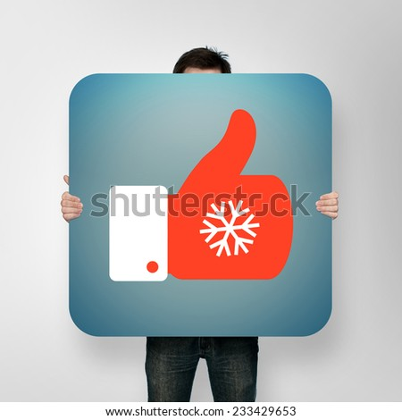 man holding poster with christmas like icon #233429653
