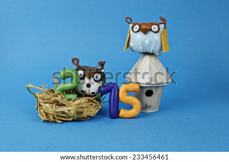 Owls in the nest with numbers 2015