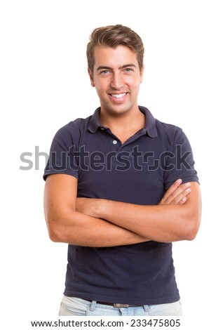 Studio picture of a young and handsome man posing isolated #233475805