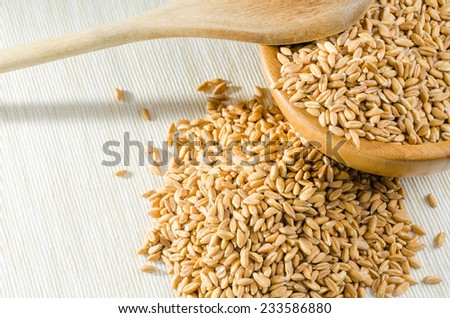spelt with spoon, close up #233586880