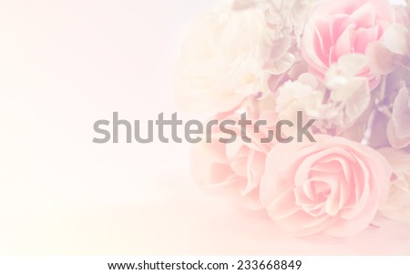 Beautiful bouquet pink roses flower in pastel tones for background,Copy space for text on various important occasions