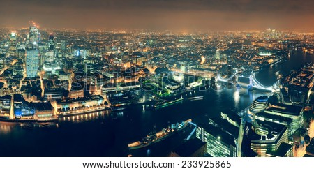 London aerial view panorama at night with urban architectures and tower bridge. #233925865
