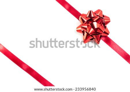 Shiny red ribbon on white background #233956840