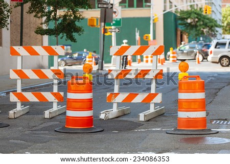 Roadwork signs on the Street