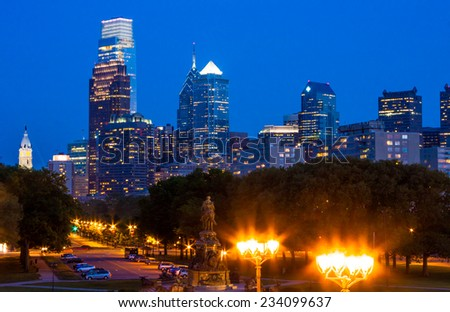 View of downtown Philly at night from The Rocky Steps at the Philadelphia Museum of Art,  Pennsylvania.