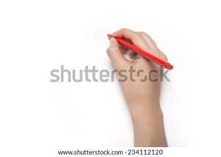 A female(woman) hands hold a red pencil isolated white, top view at the studio. #234112120