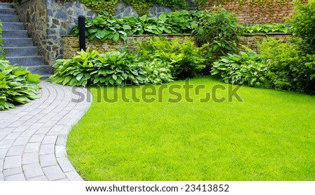 Garden stone path with grass growing up between the stones #23413852