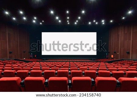 Empty movie theater with red seats #234158740
