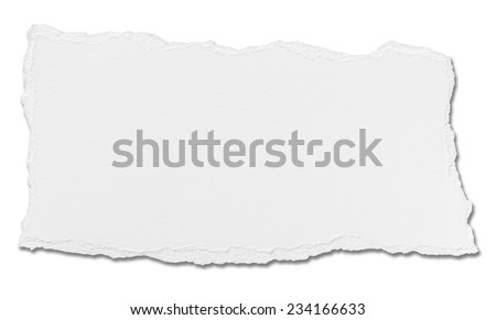 close up of  a white ripped piece of paper on white background Royalty-Free Stock Photo #234166633