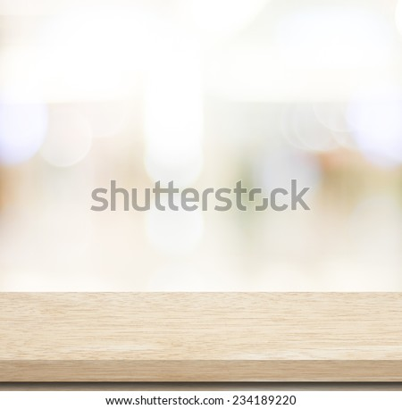 Empty table and blurred store with bokeh background, product display template. #234189220