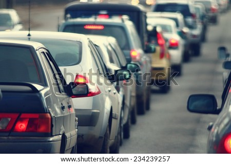 traffic jams in the city, road, rush hour Royalty-Free Stock Photo #234239257