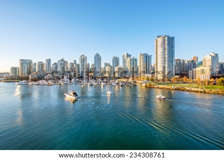 View from the Cambie Bridge. Downtown skyline in Vancouver, Canada. #234308761