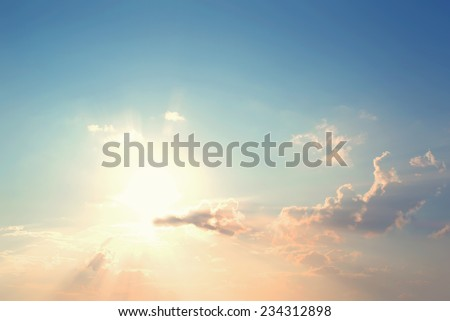 Vintage photo of  Abstract nature background with sky in sunset