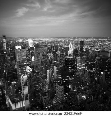 Black and white aerial image of the NYC skyline