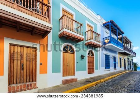Street in old San Juan, Puerto Rico Royalty-Free Stock Photo #234381985