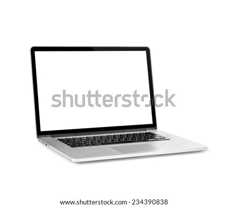 New laptop with a popular design. Isolated on white background #234390838