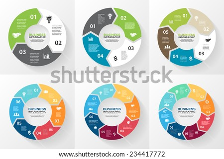 Vector circle arrows for infographic. Template for cycling diagram, graph, presentation and round chart. Business concept with 3, 4, 5, 6, 7, 8 options, parts, steps or processes. Abstract background. Royalty-Free Stock Photo #234417772
