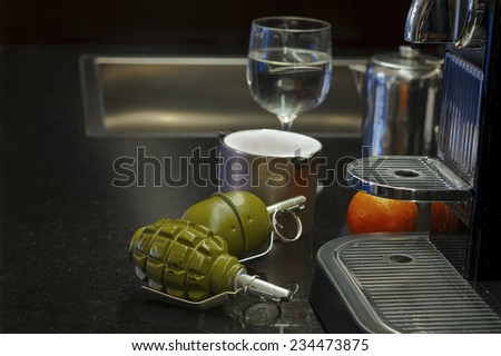 Couple of grenades on a kitchen table, indoor still life #234473875