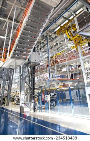 KRAGUJEVAC, SERBIA - CIRCA APRIL 2012: industrial building interior at Fiat Cars Serbia factory. #234518488